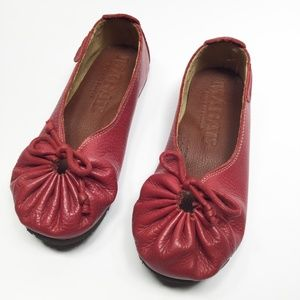 Adorable Genuine Adjustable Red Leather Flats